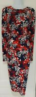 Womens Per Una Blue Red Floral Ruched Stretch Asymmetric Hem Bodycon Dress 14.