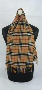 BURBERRY SCARF 100% LAMBSWOOL SHORT MADE IN ENGLAND BEIGE AS4