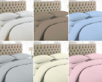 LUXURY PLAIN DYED 200 THREAD COUNT DUVET COVER SET 100% EGYPTIAN COTTON ALL SIZE