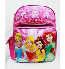 "Disney Princess Girls14"" Medium Backpack Bag Pink- Cinderella Aurora Ariel-4310"