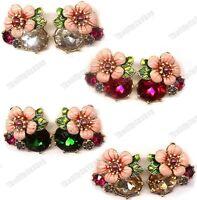 CLIP ON big CRYSTAL FLOWER enamel VINTAGE STUD EARRINGS pink/gold plated