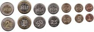 Zimbabwe - set 7 coins 1 5 10 25 50 Cents Bond Coin 1 2 Dollars 2014 - 2018 UNC