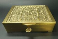 Antique Erhard & Sohne-cast gilt bronze jewellery box with- key-Germany c.1930s.