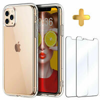 2PK Screen Protector + iPhone 11 Pro Max XR Case 6S 7 8 Plus X XS Cover Clear