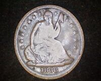 1838 SEATED LIBERTY SILVER HALF DIME #19692