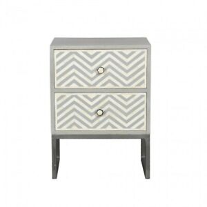 MADE TO ORDER Bone Inlay Indian Handicraft Bedside Cabinet Table Grey ZigZag