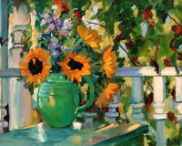 Art Canvas Giclee Print Sunflower Still Life Oil painting Printed on Canvas P240