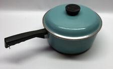 Vtg Club Aluminum Cookware Sauce Pan Pot With Aqua Teal Turquoise