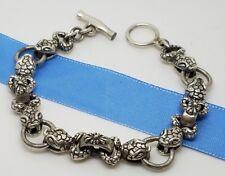 950 Sterling Silver 13'mm Snake Cobra Head Tribal Link 8.5 In Toggle Bracelet