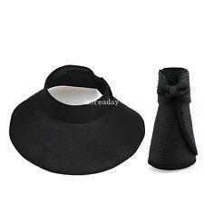 Women Straw Visor Hat Summer Sun Beach Ladies Foldable Roll Up Wide Brim Cap