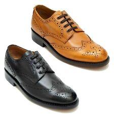 Zapato de cuero para hombre Lucini Cuero Calado Inteligente Formal Informal Botas Con Cordones Brogue De Oficina