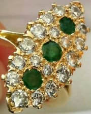 18Ct Gold 1.3Ct Diamond (VS) Emerald Heavy 7.4g Marquise French Engagement Ring