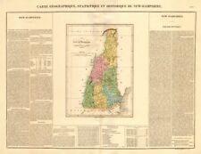 New Hampshire Mapa Antiguo. Estado condados. Buchon 1825 viejo gráfico