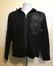 Hurley Black Jacket Men Size Small Gothic Zip Up Long Sleeve Cotton Blend Casual