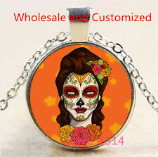 Sugar Flower Girl Cabochon Tibetan silver Glass Chain Pendant Necklace #3544