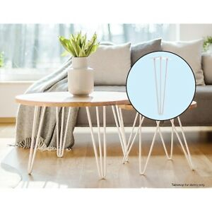 Set of 4 Industrial Retro Hairpin Table Legs 12mm Steel - 41cm White