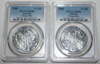 Pair Austria Vienna Philharmonic 2008 1 oz .999 Silver 1.5 Euro Coins PCGS MS68