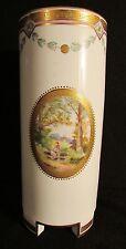 Antique Minton Porcelain Cylindrical Vase with Hand Painted Landscapes c1885