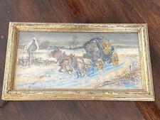 Antikes Aquarelle Bild aus 1902 Pferde mit Kutsche in Winterlandschaft Signiert