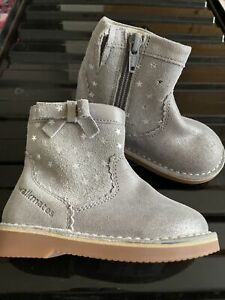Girls Silver M&S Infant Ankle Boots Uk 5 New Stars Marks And Spencer Leather