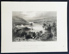 1842 William Bartlett Antique Print View St Francis R. Sherbrooke, Quebec Canada