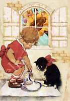 Milk for the Kitty - 8x10 Vintage Retro Craft and Quilt Cotton Fabric Block