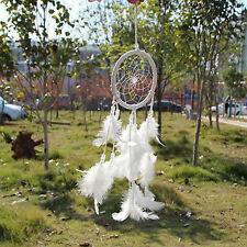 Dream Catcher Net With White Feathers Beads Handmade Craft Gift Car Decor
