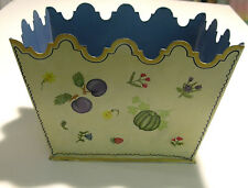 Tole Painted Planter Scalloped Top Fruit Design