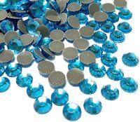 185 Hotfix Strasssteine 5mm SS20 Aquamarine Blau Glas Strass Bügelsteine BEST 80