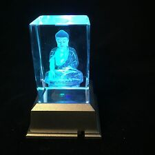 Lady Buddha - 3D Laser Etched Crystal Block With Light base