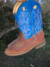 OLD WEST Teal Blue Justin Leather Cowboy Boots Boys Girls Size 13.5 ❤️sj18m2