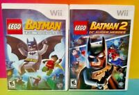 LEGO Batman 1 & 2 DC Super Heroes -  Nintendo Wii / Wii U Game Lot - Tested