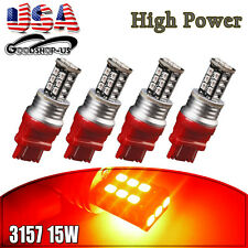 4x Pure Red 3157 3156 High Power 15W Tail Brake Stop Turn Signal LED Light Bulbs