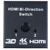 4Kx2K Switcher UHD 2 Ports Bi-directional Manual 2x1 1x2 HDMI AB Switch HDCP YK