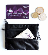 Black Leather coin Purse Wallet With Keyring Holder 4 Zipped Sections