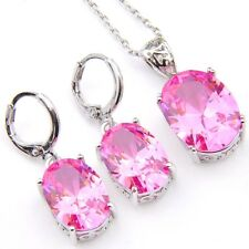 Oval Cut 2 pcs 1 Lot Natural Fire Pink Topaz Silver Dangle Earrings Pendants