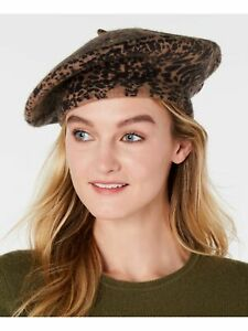 INC Womens Brown Animal Print Fitted Beret Hat