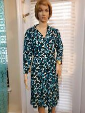 Liz Claiborne Dress Long Sleeve Size 12 Black& Blue Print Stretchy  Knee Length