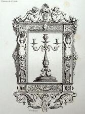 Chandelier Cadre Décoration ornement architecture gravure Riester Clerget 19e