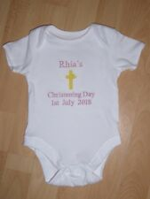 Personalised Embroidered Christening Baby Grow Bodysuit Boy Girl Gift
