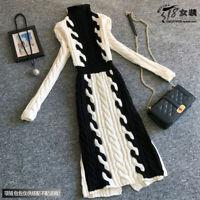 Damenmode Strickkleider Rollkragen Sweater Kleider Pullover Winter Dicke Kleider