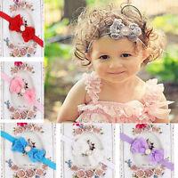 Elegant Baby Girl Kid Pearl Headband Rose Bow Lace Flower  Baby Hairband