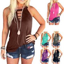 Women Summer T Shirt Crew Neck Blouse Sleeveless Loose  Tank Top