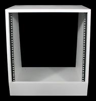 "White 10u angled 19"" inch wooden rack unit/case/cabinet for studio/DJ/recording"