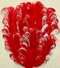 NAGORIE FEATHER PAD - RED/WHITE Curly Goose Pads; Craft/Art/Hats/Custome/Bridal