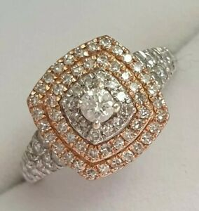 Lovely 9carat gold 9ct Gold 0.50ct Diamond Cluster Halo Ring 2.9g Stamped Size i