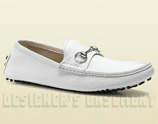 GUCCI men 8G White leather DAMO metal HORSEBIT Driving Moccasin shoes NIB Authen