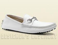 GUCCI men 8G White leather DAMO metal HORSEBIT Driving Moccasin shoes NIB Authen