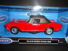 Welly Alfa Romeo Spider 2600 1960 Softtop Red 1/24