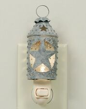 Country Primitive Metal Punched Star Lantern Night Light Barn Roof